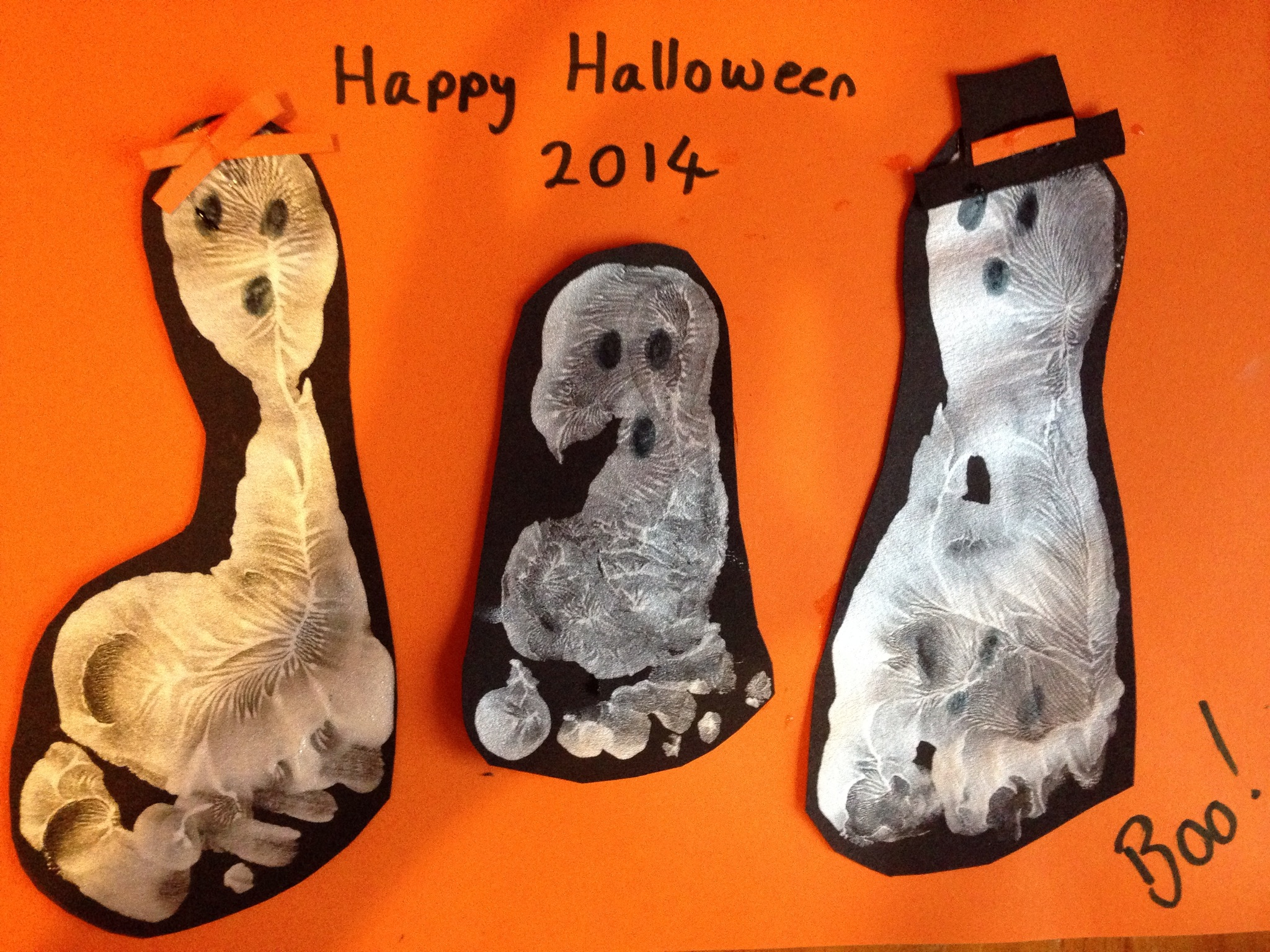 Our Halloween foot print ghosts