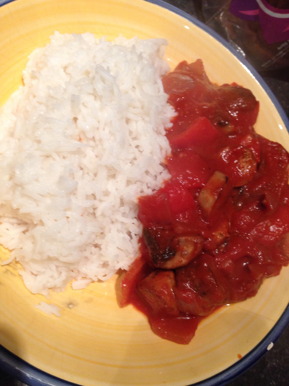 Sausage casserole and rice