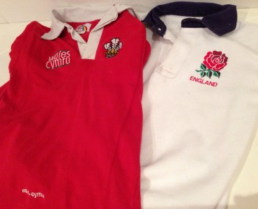 Wales v England rugby shirts
