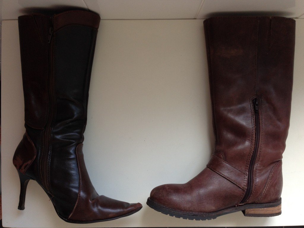 Old boots meet new boots. I certainly haven't traded my stiletto boots in for a younger, sexier model!