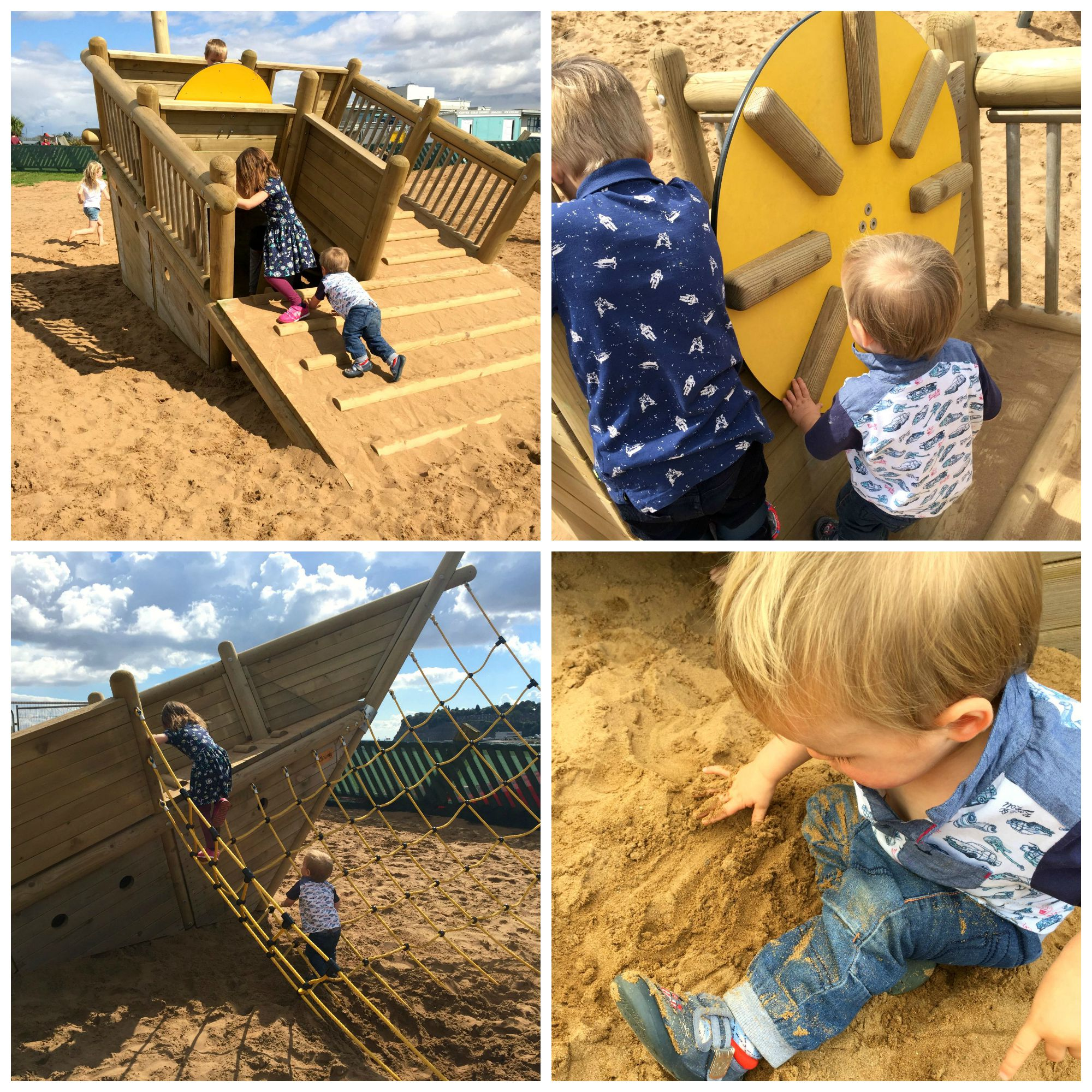 Cardiff Bay Barrage playground collage
