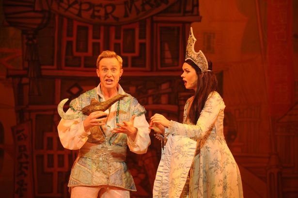 Ian H Watkins as Aladdin and Holly Bluett as Princess Jasmine