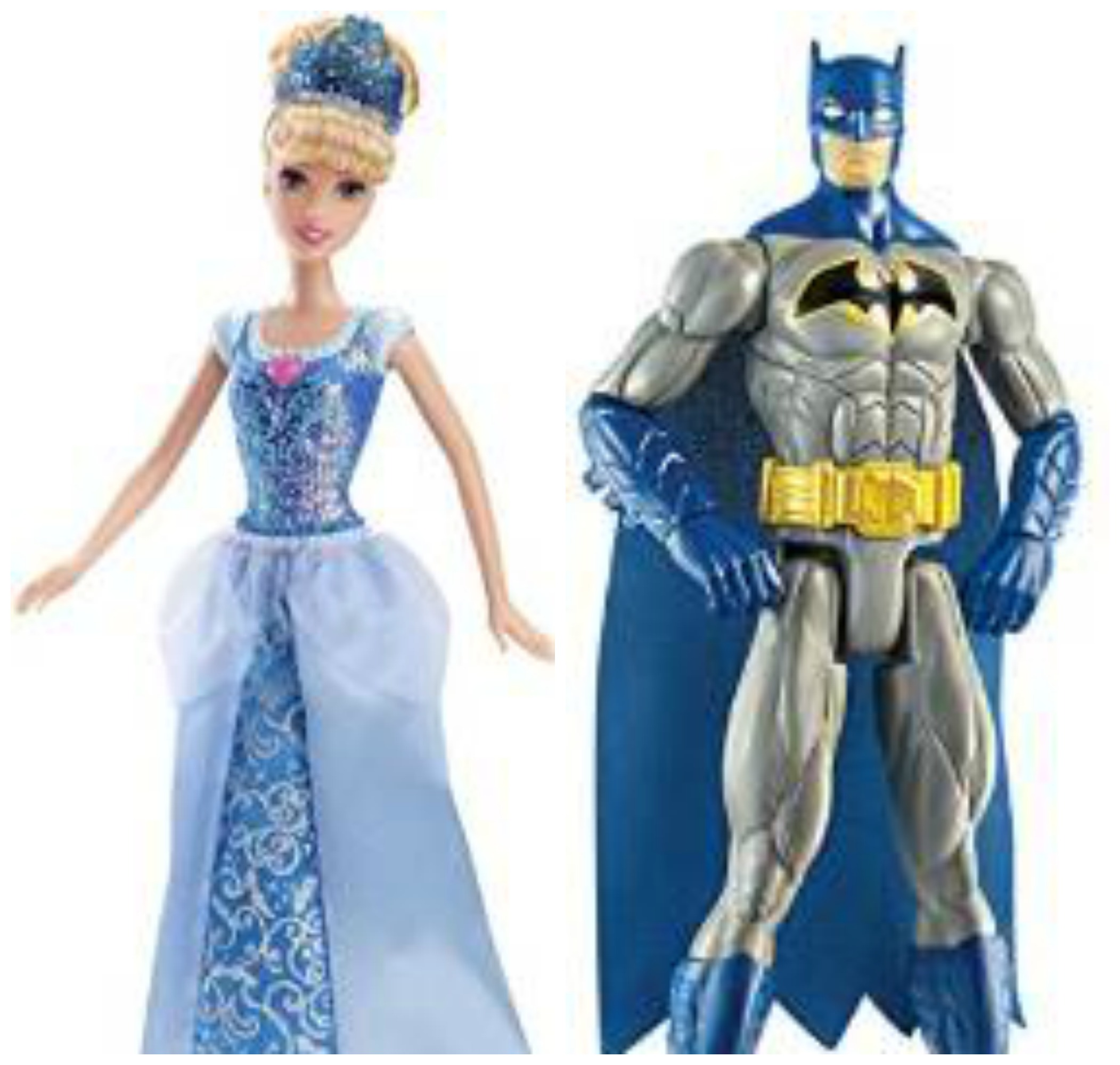 Cinderella and Batman dolls