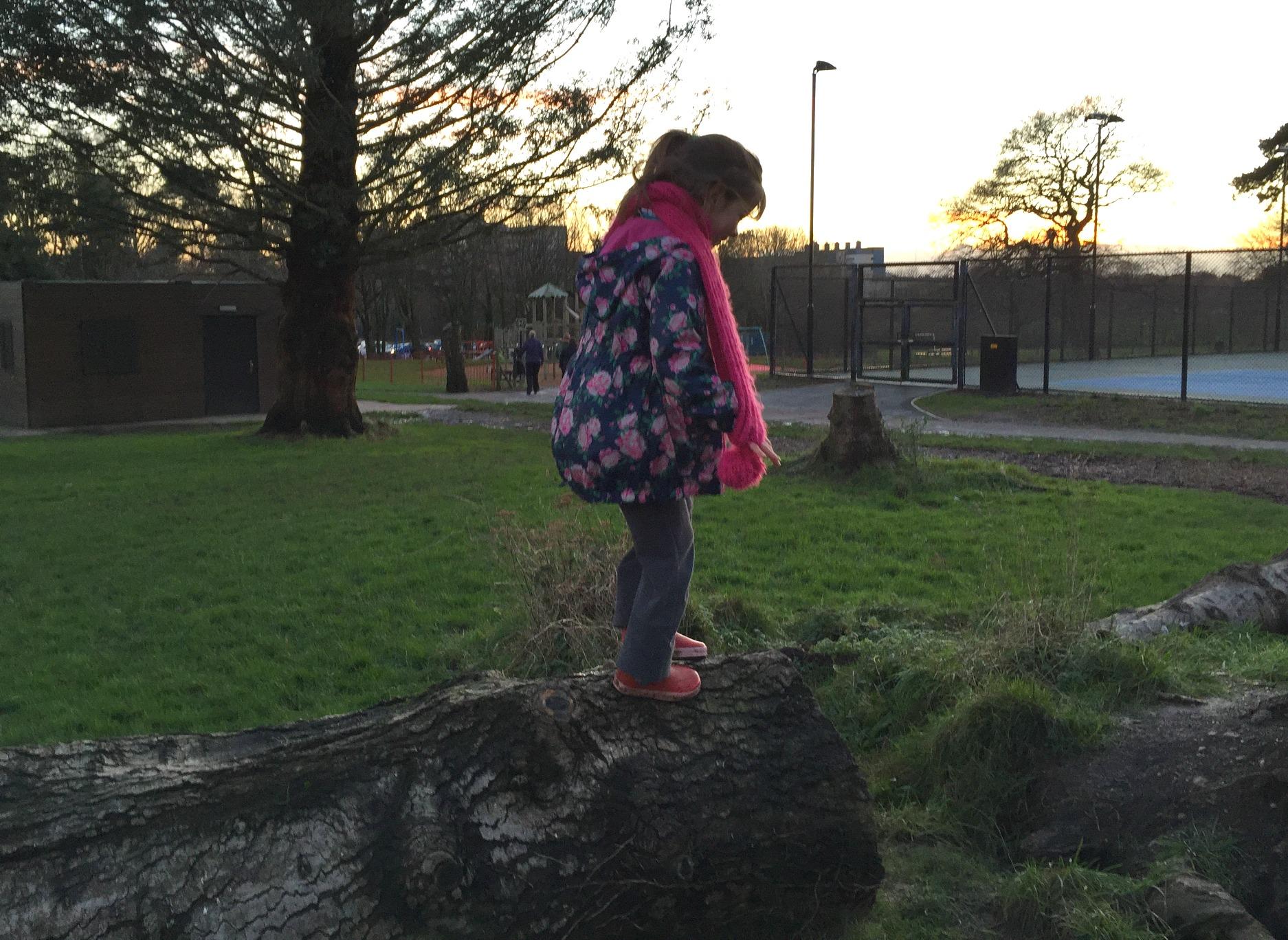 Girls climb trees