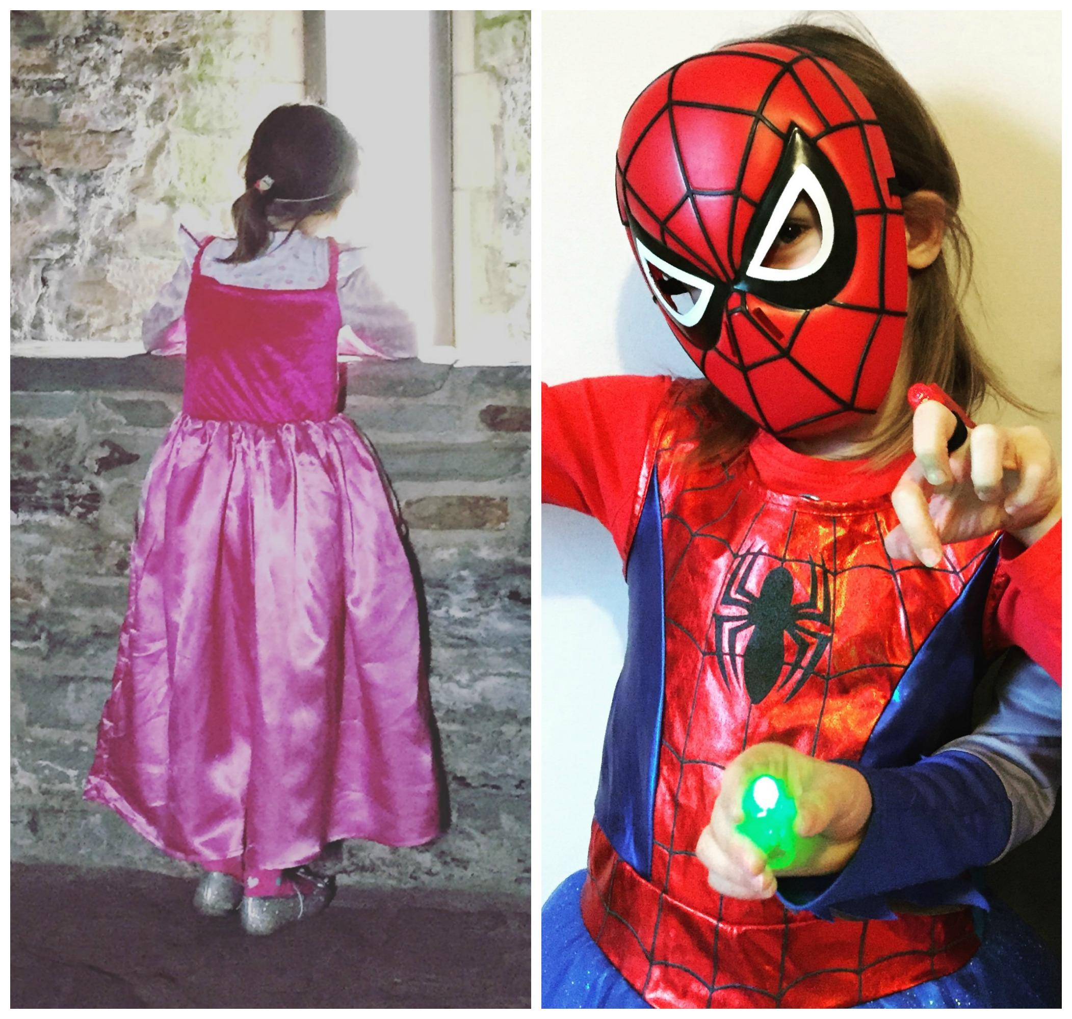 Superhero and princess collage