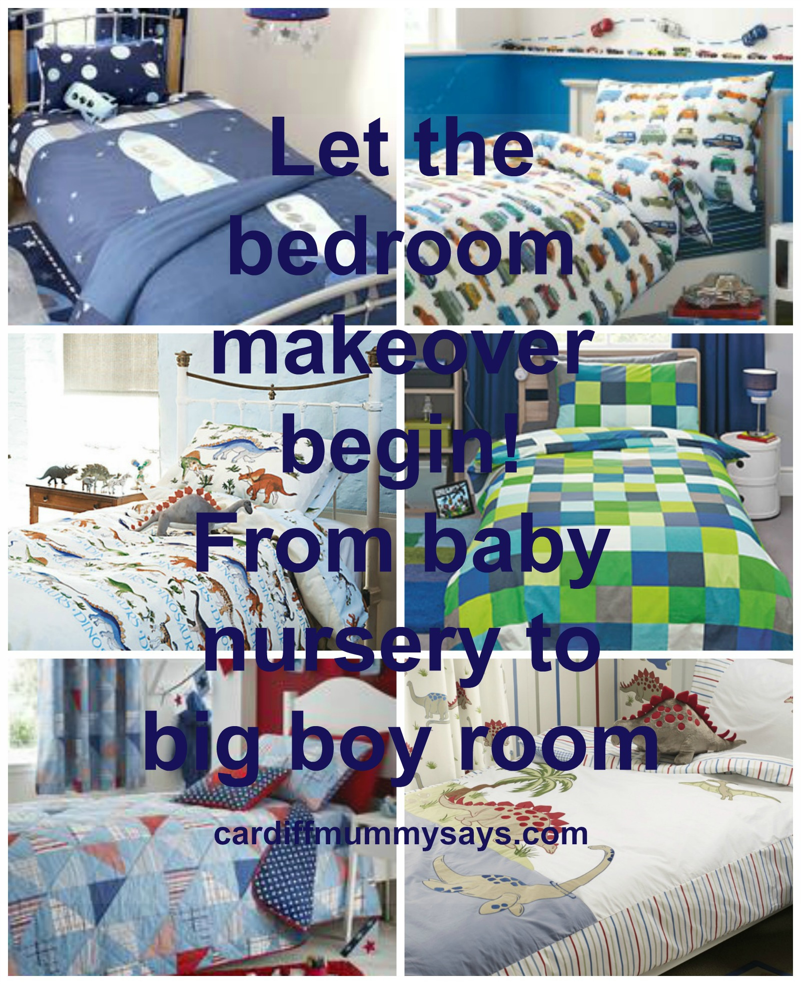 Boys bedroom ideas bedding collage with text