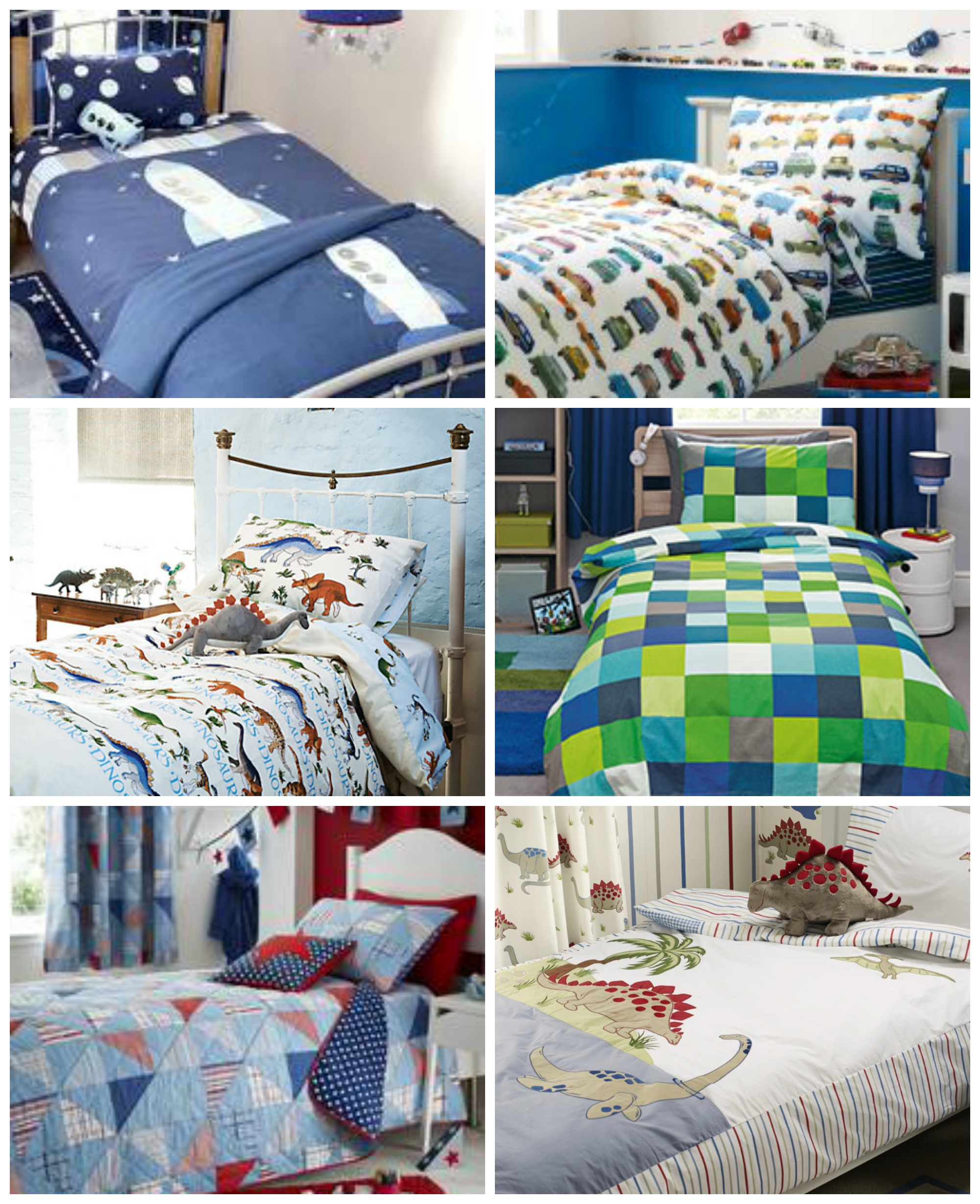 Bedding inspiration - clockwise from top left: 1. Space mission duvet set, £19.99, Dunelm;  2. Vintage car bed set, £20, Next; 3. Pixel print bedding, from £15, Next; 4.Dinosaur bedding, £55, Laura Ashley; 5. Patchwork bed linen collection, £6.99-£49.99, Dunelm; 6. Emma Bridgewater dinosaur single duvet cover and pillowcase, £30, John Lewis