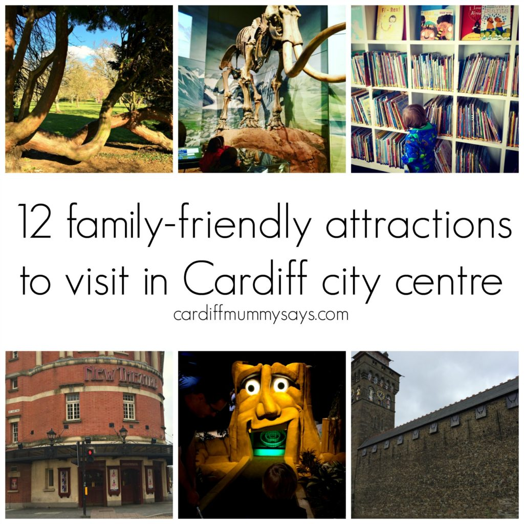Cardiff City centre collage with text