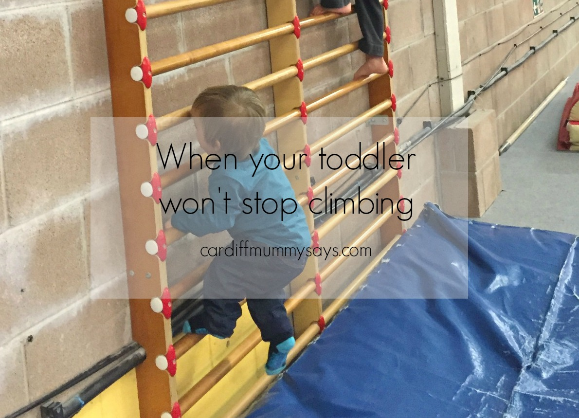 Child is a climber text and image