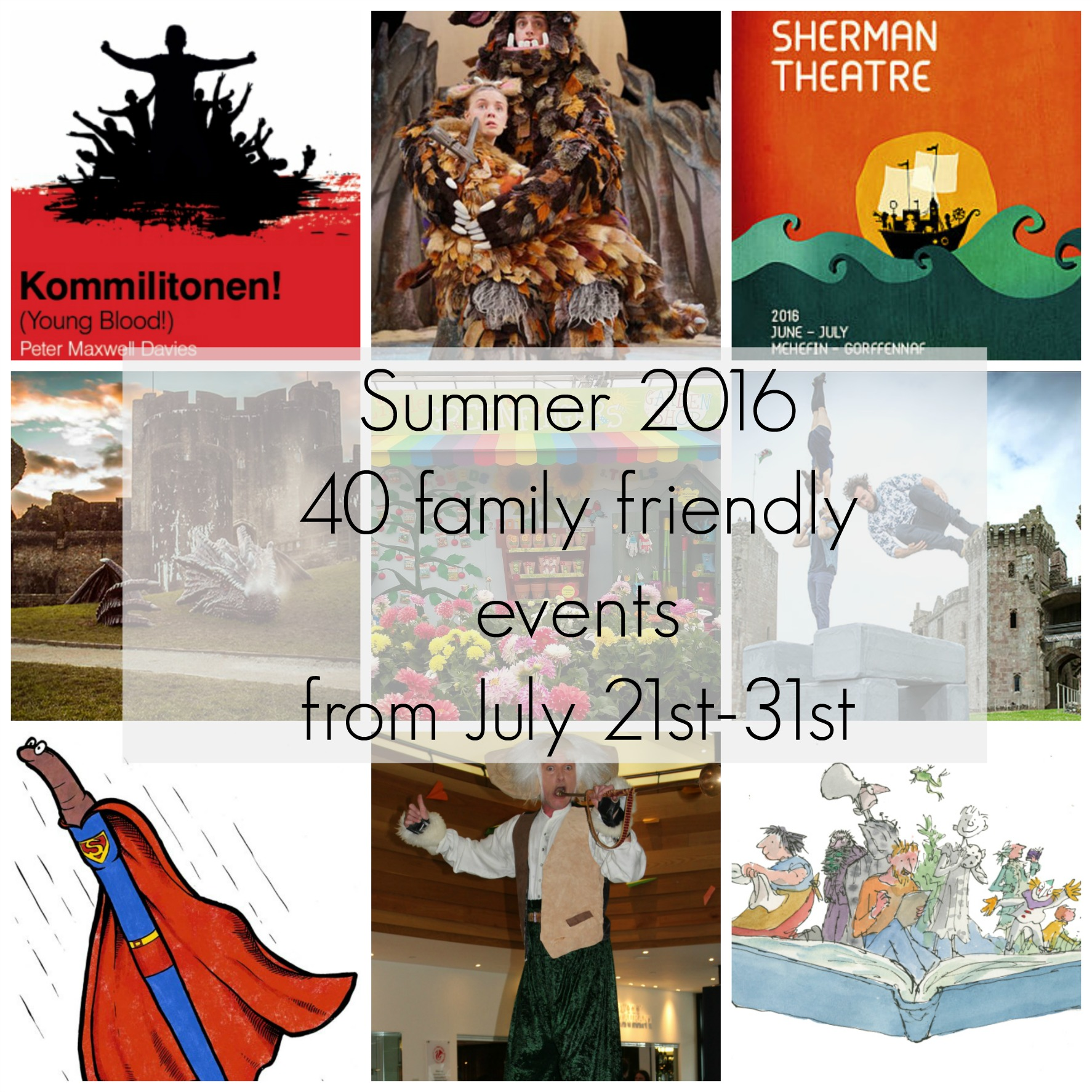 Summer holiday events 21st-31st July 2016 with text