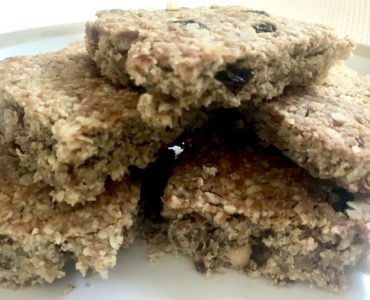 Peanut butter and raisin flapjacks