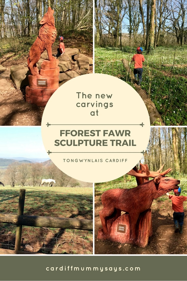 New wooden carvings at Fforest Fawr Sculpture Trail Tongwynlais Cardiff