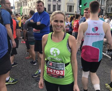 Me wearing my green Ty Hafan t-shirt at the start of the Cardiff Half Marathon