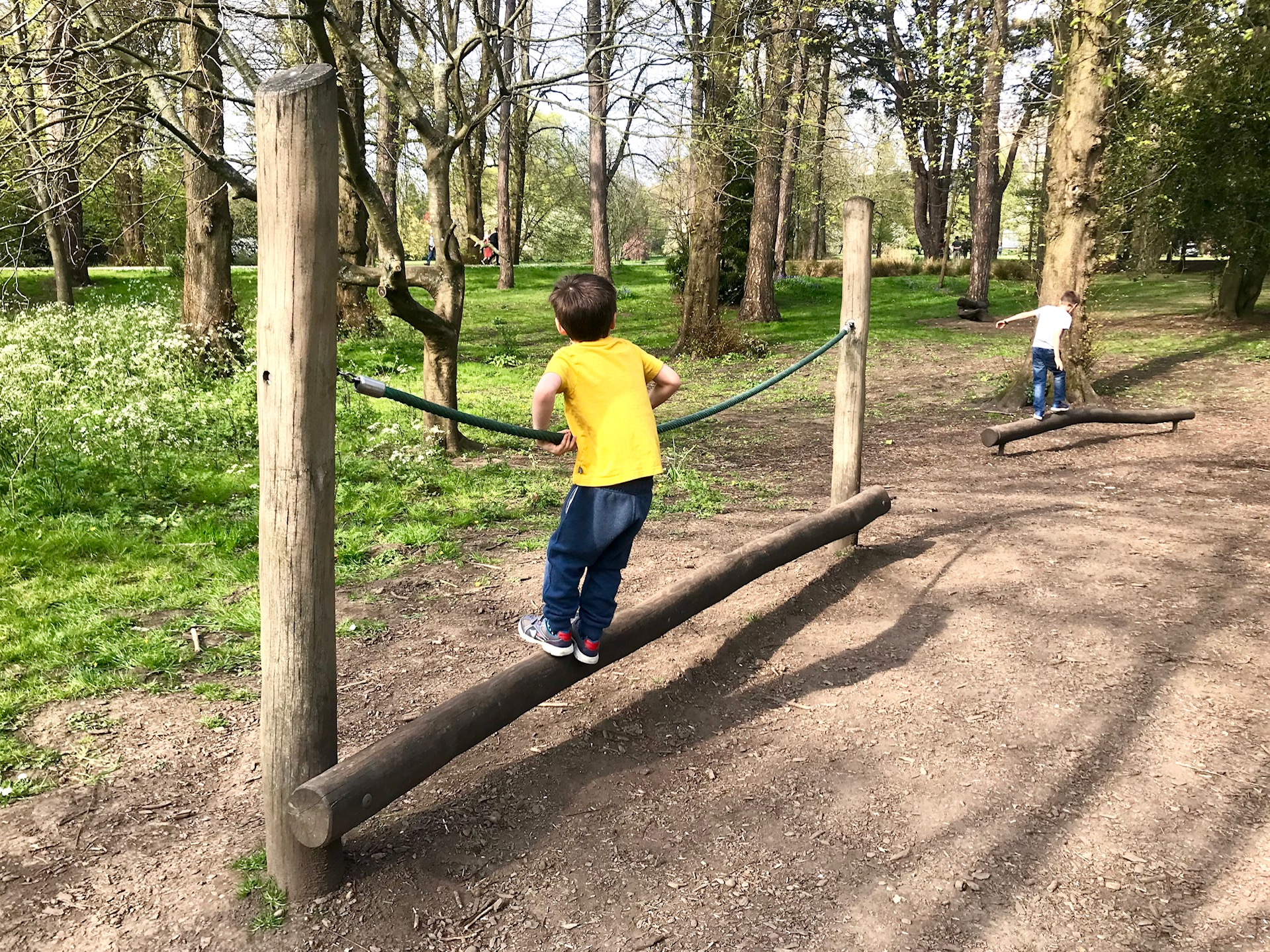 Wooden playtrail at Bute Park Cardiff
